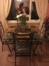 Diningroom table and chairs and matching display unit
