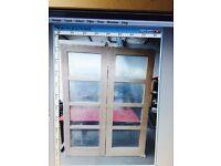 Oak and white glazed French doors
