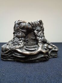Highly Collectible PenDelfin Cold Cast Bronze Mouse House Candle Holder