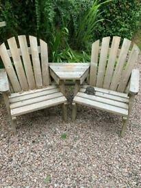 Wood two seater