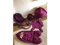 Stokke Xplory purple textiles and shoppjng bag and footmuff