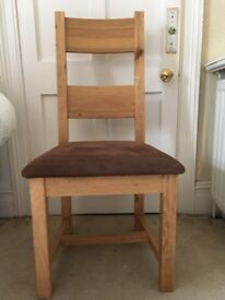 4 oak dining chairs with suede seats