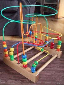 Wooden Bead Maze Bead roller coaster Large Tall H43xW38xD30cm Abacus Motor Training Count Education