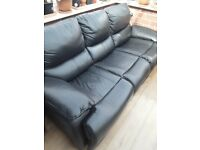 Black Leather 3 seat sofa and matching Electric recliner chair