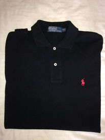 Mens Ralph Lauren Long Sleeve Polo Shirt | Size Small (S) | Black and Red | Designer Clothes