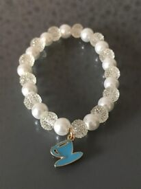 Handmade Pearl and Shiny Crystal Style Beaded Bracelet with Charm
