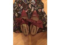 Zara bow ballerina burgundy shoes