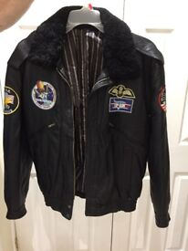 Top Gun (Badged) Real Leather Black Bomber Jacket