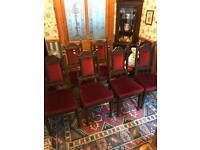 6 wooden dining chairs, red velvet upholstery
