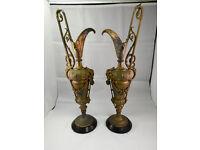 pair of antique gilt spelter ewers