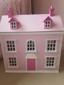 Pink wooden dolls town house and accessories