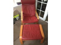Ikea Red Leather Poang chair & matching Foot Stool