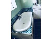 Oval bath with panels