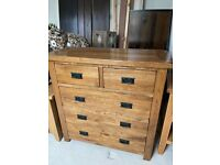 solid oak chest of drawers and matching furniture