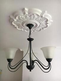 Ceiling light with 3 frosted glass shades
