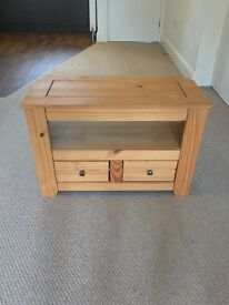 Solid Pine TV Unit with 2 Drawers