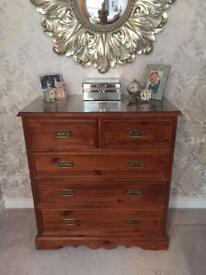 2 chest of drawers and 1 bedside cabinet . Solid wood. Please read ad for sizes
