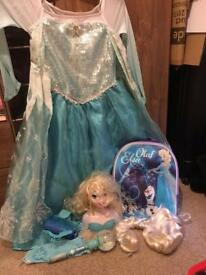Elsa fancy dress and accessories bundle age 7-8 years