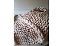 Cozy merino wool blanket, chunky throw, arm knit blanket, super thick blanket