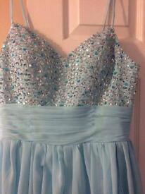 Light blue sequin party prom wedding dance dress. Tailored to fit 10-12 women's.