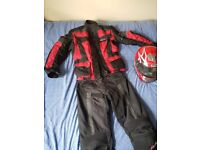 Rst textile jacket and trousers. Box helmet