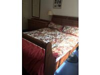 Solid pine Sleigh double bed and drawers