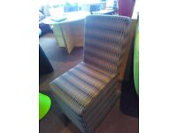 Upholstered green checked high backed chair. Very good condition.