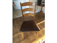 John Lewis Solid Oak Dining Table and 6 leather upholstered chairs