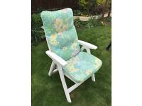Hartman reclining chairs with cushions and matching parasol