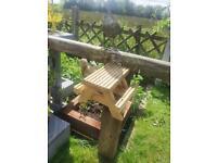 Squirrel bench / bird feeder