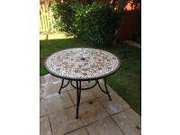 Mosaic garden table, reasonable condition