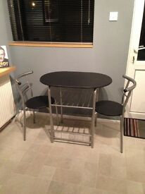 Black bistro table & 2 chairs,