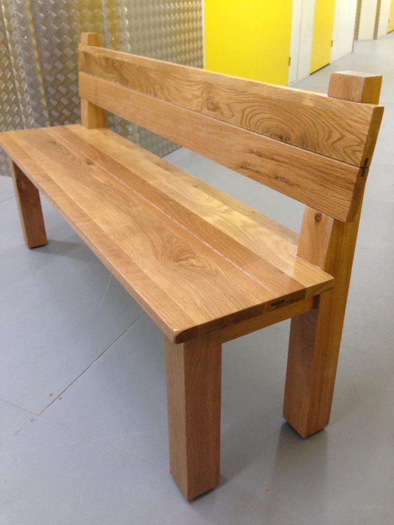 Solid Oak Heavy Dining Room Bench With Backrest Chair Laura Ashley John Lewis Habitat Loaf Oka