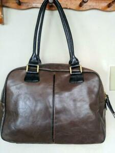 ab06069fa676 DANIER VINTAGE LEATHER TOTE Bucket BAG Purse Made in Canada MINT Brown  black Cowhide Excellent Quality