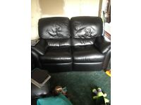 Two leather recliner sofas