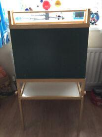 Wooden blackboard, whiteboard and easel