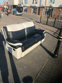 Quality leather 2 seater recliner sofa