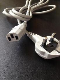 2m UK power cords. Grey/Black. JOBLOT