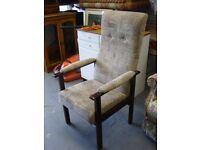 Highback Armchair in Brown Fabric. Very Good Clean Condition