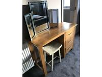 Solid Oak Dressing Table, Stool and Vanity Mirror