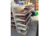 Shop metal click shelving. 1.2 mtr wise. Base plus 5 shelves