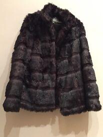 Vintage wine red Fake fur coat