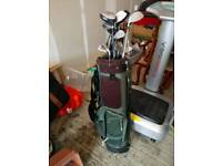 Golf clubs, bag and kaddy