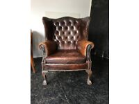 Leather High Back Chesterfield Armchair