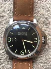 Marina Miltare 47mm Watch Panerai Style on Leather Strap