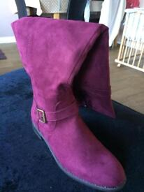 Gorgeous maroon over knee boots