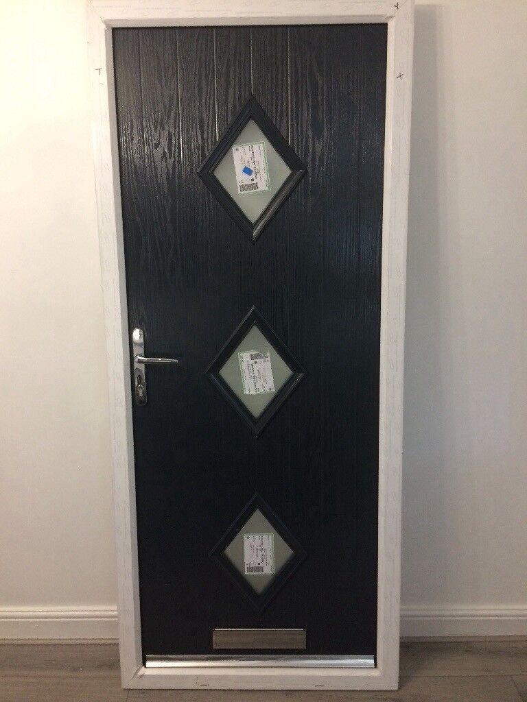 Modern Composite Front Door In Grey Brand New In Warrington