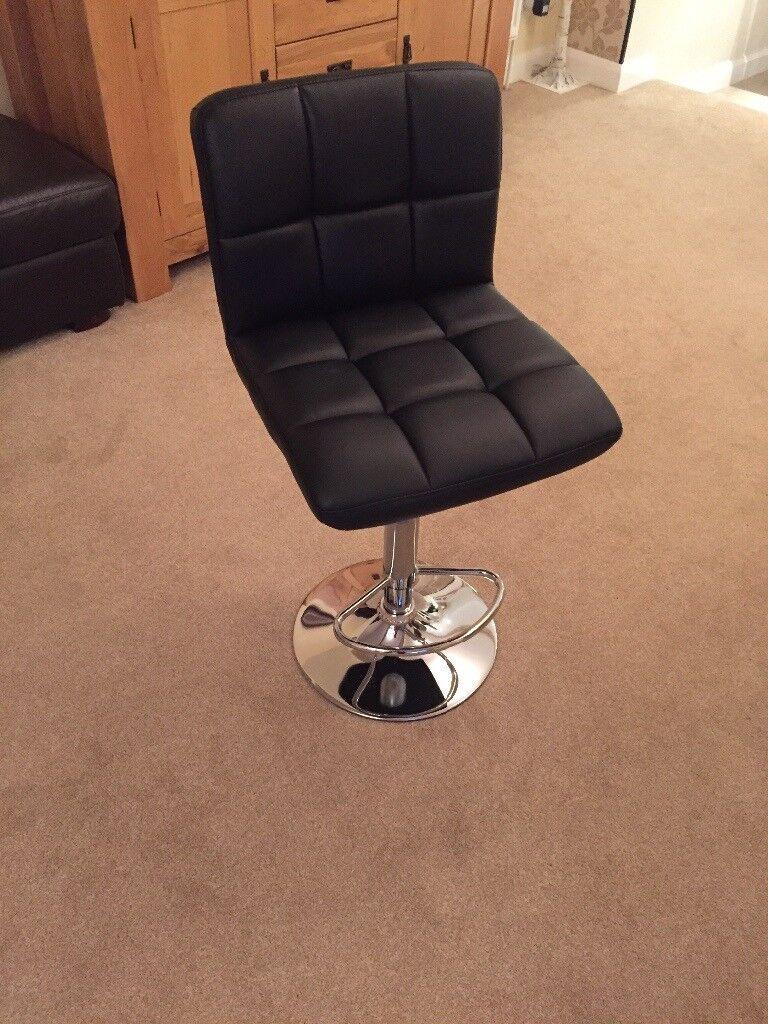 Homegear Faux Leather & Chrome bar stools x 4