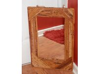 """VINTAGE BAMBOO MIRROR 21"""" BY 14"""""""