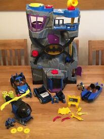 Imaginext batman bundle, batcave, batcopter, bat boat, bat mobile, bat bike